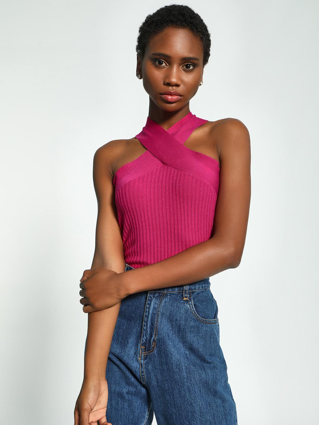KOOVS Pink Crossover Neck Ribbed Top 1