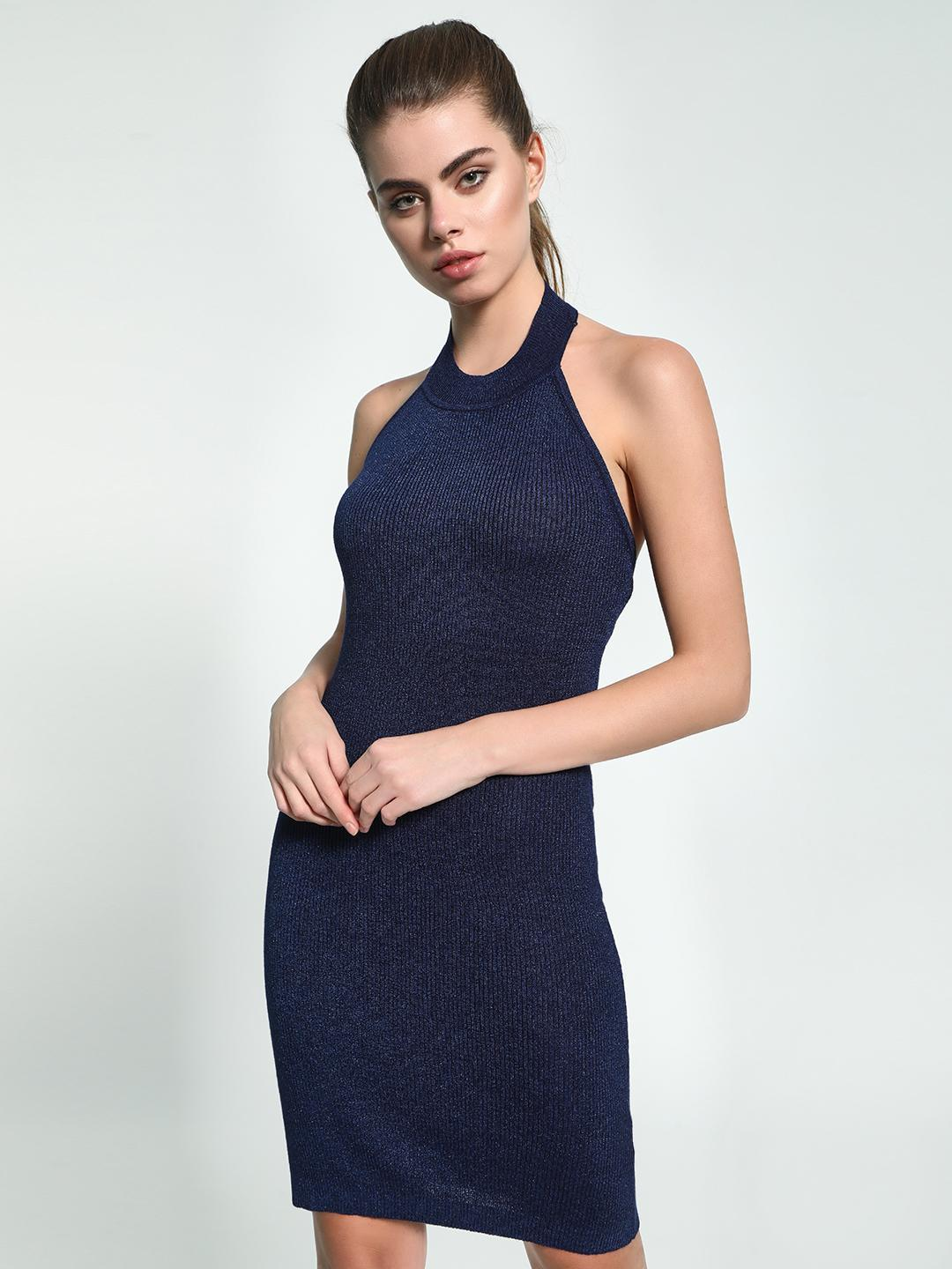 KOOVS Blue Halter Neck Shimmer Bodycon Dress 1