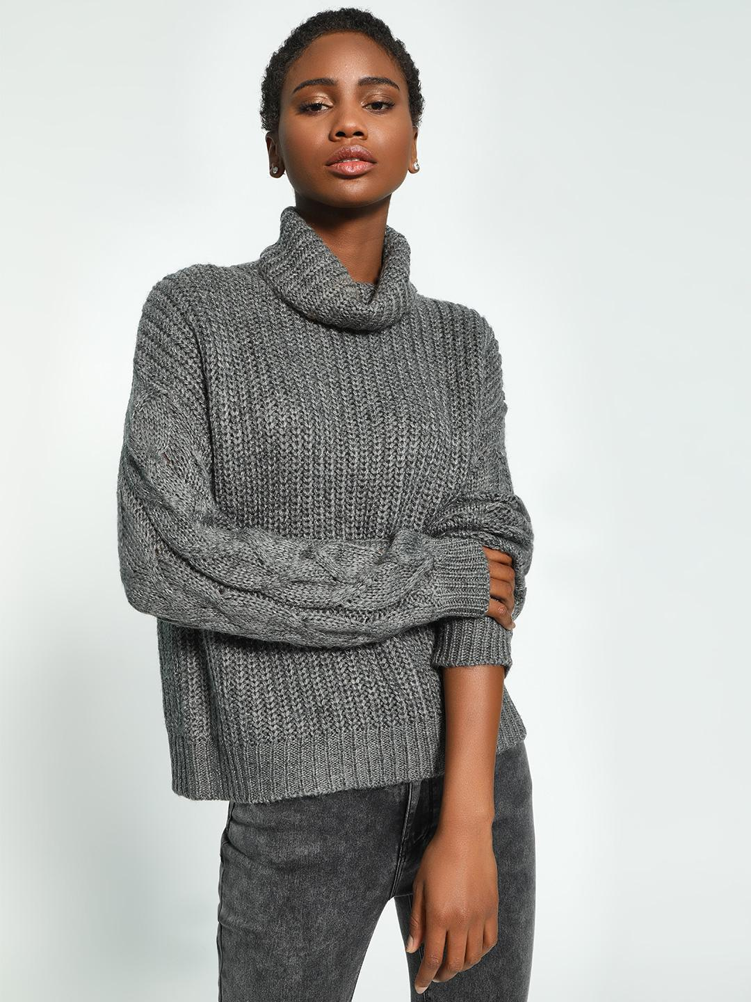 KOOVS Grey Cable Knit Roll-Over Neck Pullover 1
