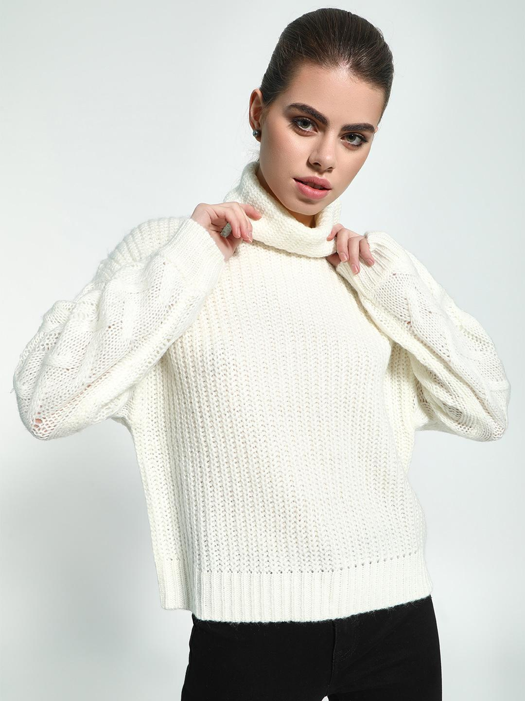 KOOVS White Cable Knit 'Roll-Over Neck Pullover 1