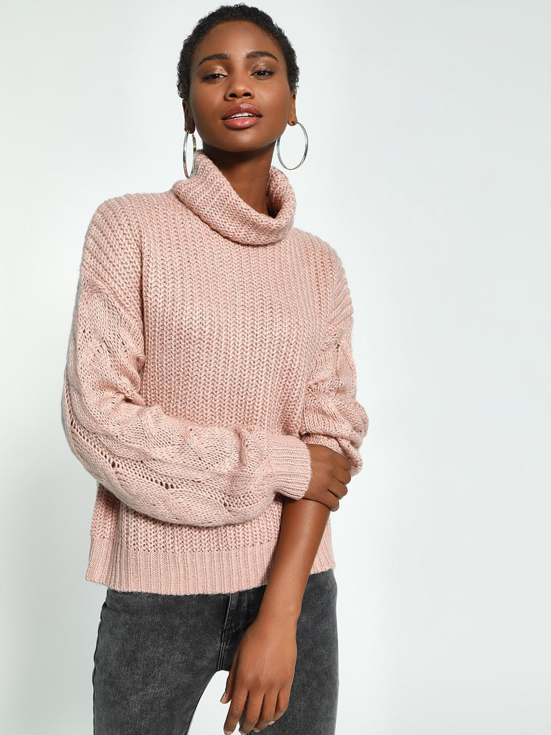 KOOVS Pink Cable Knit Roll-Over Neck Pullover 1