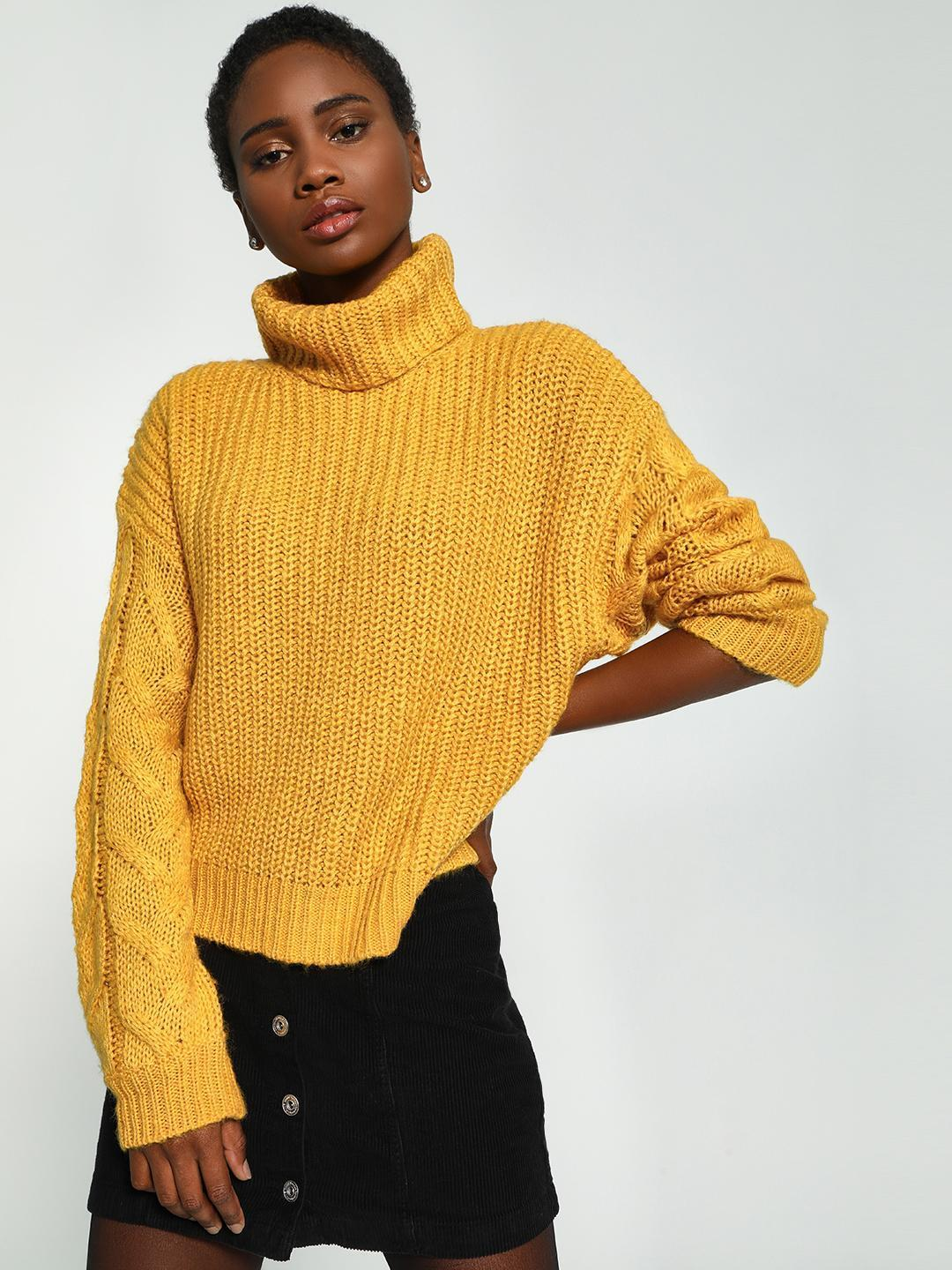 KOOVS Yellow Cable Knit Roll-Over Neck Pullover 1