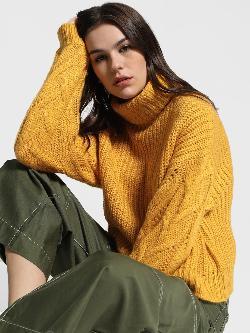 KOOVS Cable Knit Sleeve Oversized Pullover