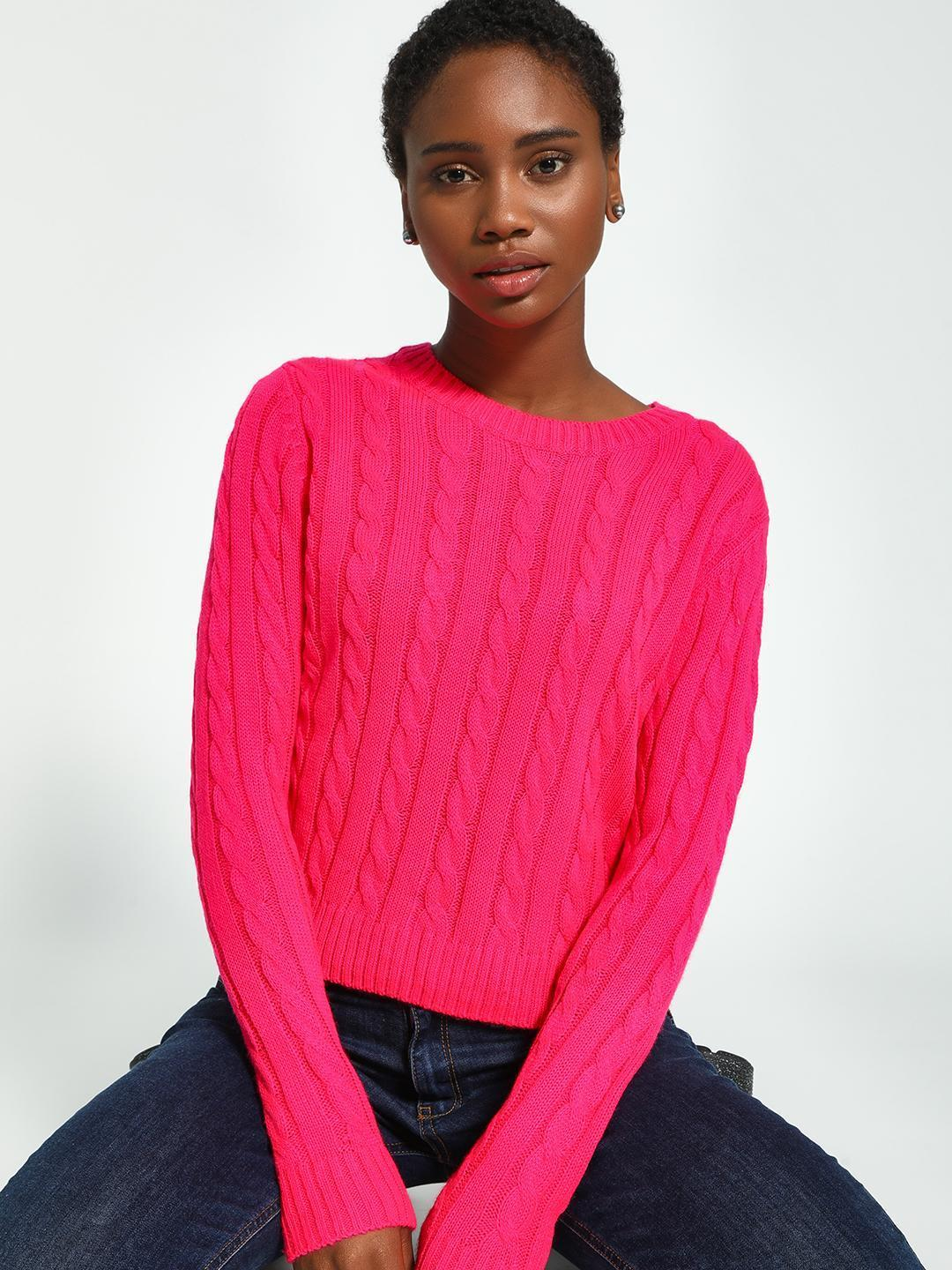 KOOVS Pink Cable Knit Round Neck Jumper 1