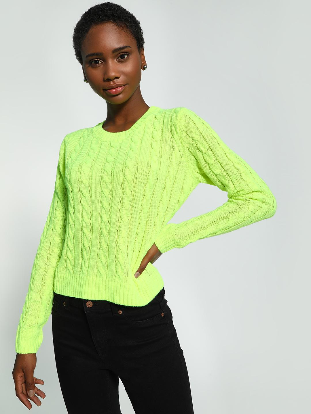 KOOVS Green Cable Knit Round Neck Jumper 1