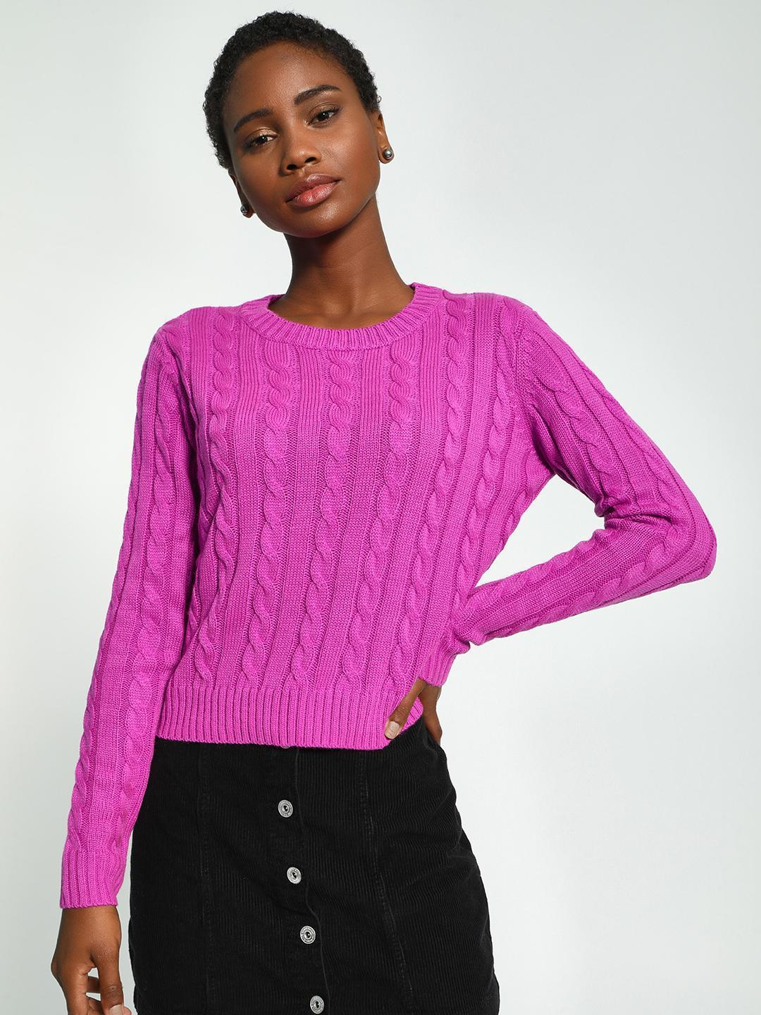 KOOVS Purple Cable Knit Round Neck Jumper 1