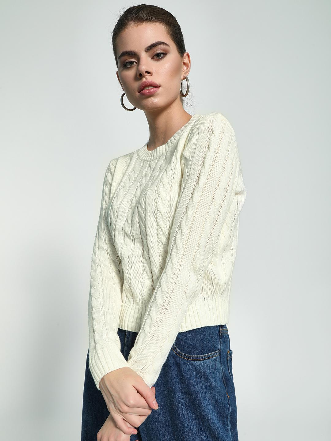 KOOVS White Cable Knit Round Neck Jumper 1