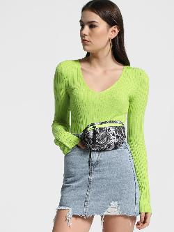 KOOVS Buttoned Sleeve Ribbed Crop Pullover