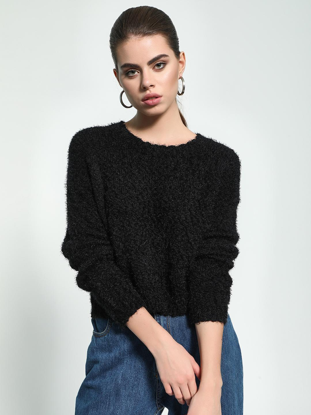 KOOVS Black Fluffy Knit Boxy Jumper 1