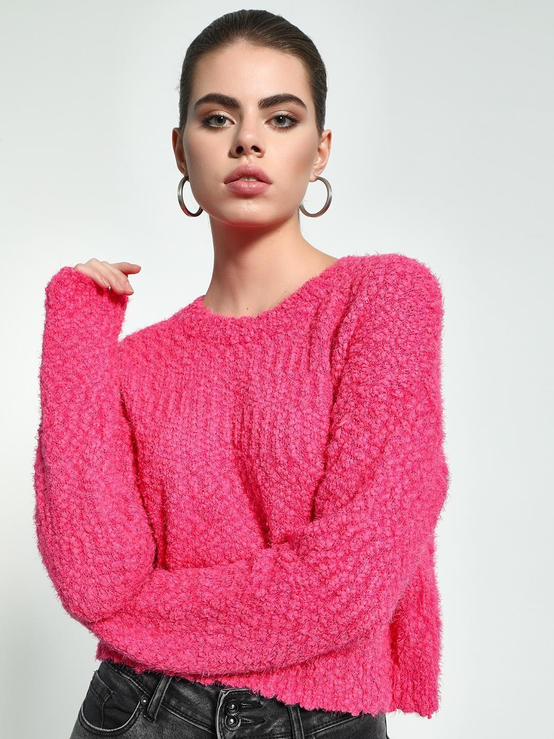 KOOVS Pink Fluffy Knit Cropped Jumper 1