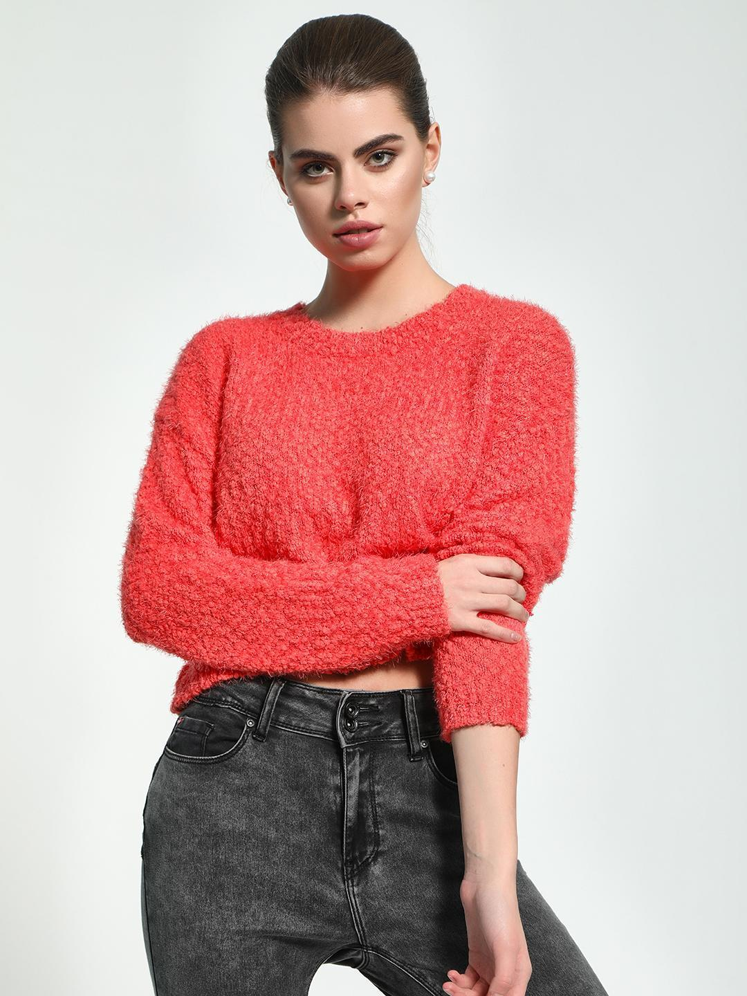 KOOVS Orange Fluffy Knit Boxy Jumper 1