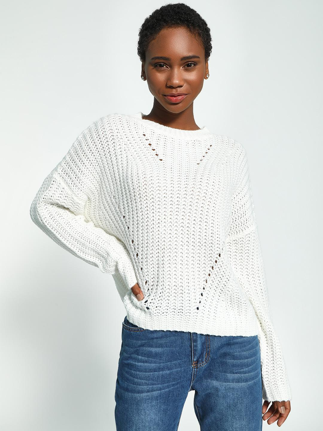 KOOVS White Cable Knit Boxy Jumper 1