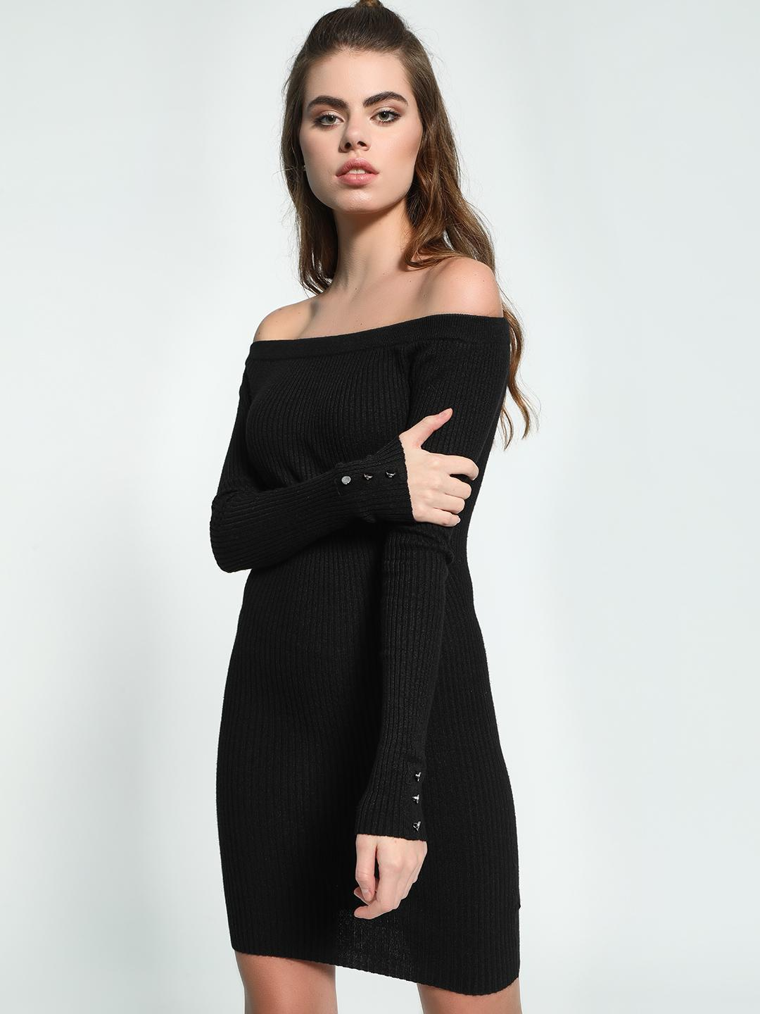KOOVS Black Knitted Off-Shoulder Bodycon Dress 1