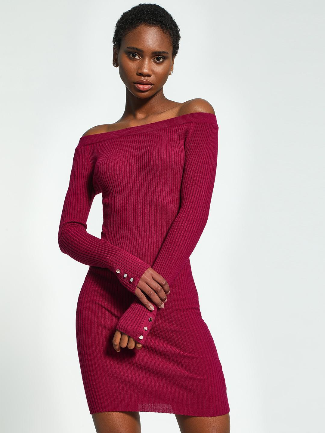 KOOVS Red Knitted Off-Shoulder Bodycon Dress 1