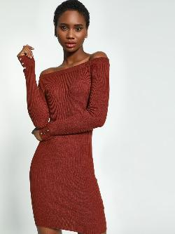 KOOVS Off-Shoulder Knitted Bodycon Dress