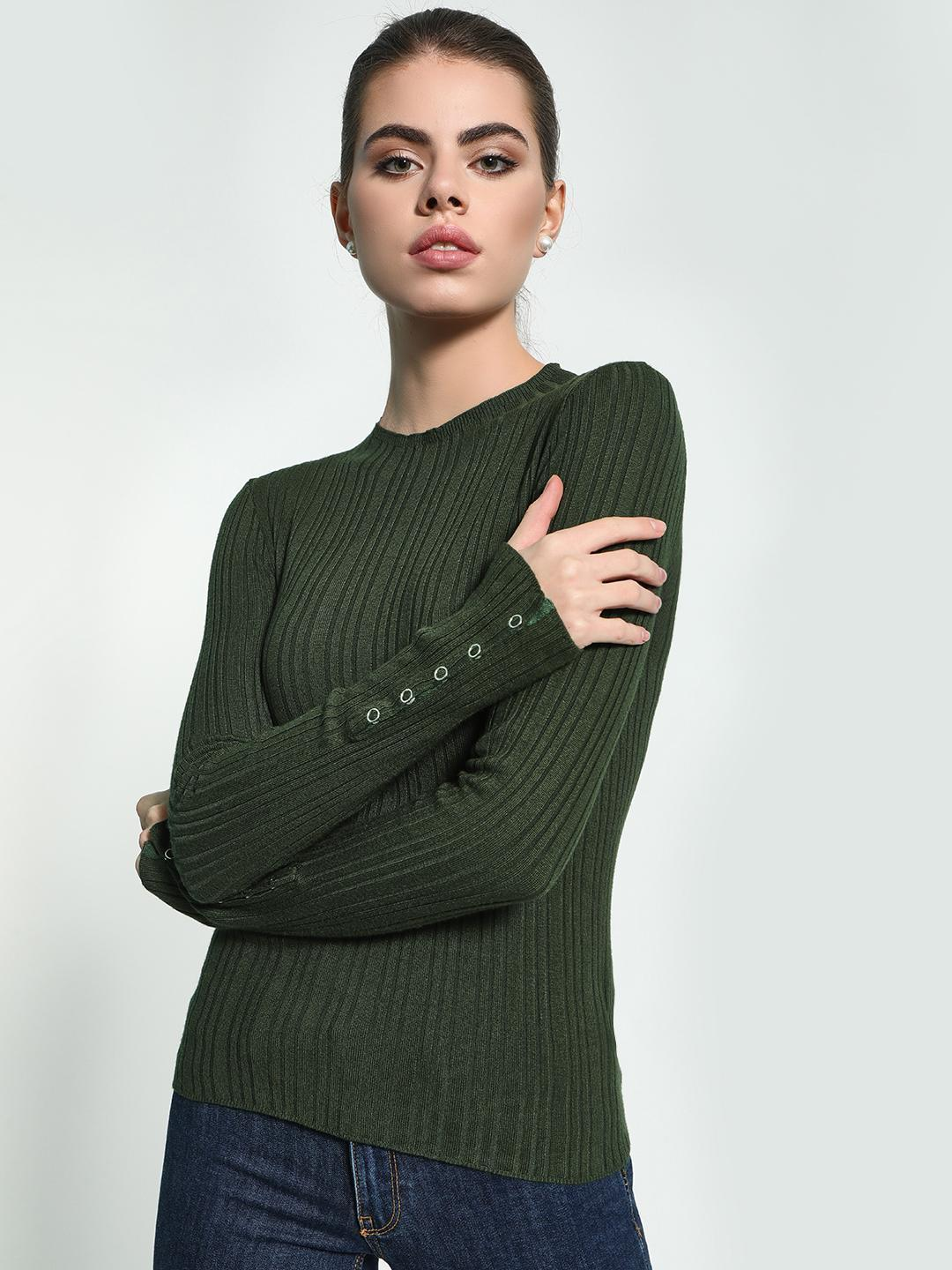 KOOVS Green Buttoned Sleeve Ribbed Pullover 1