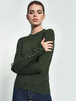 KOOVS Buttoned Sleeve Ribbed Pullover