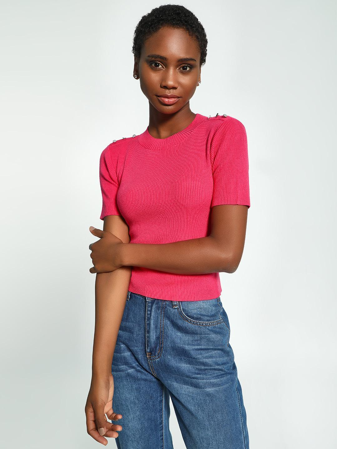 KOOVS Pink Shoulder Button Ribbed Crop Sweater 1