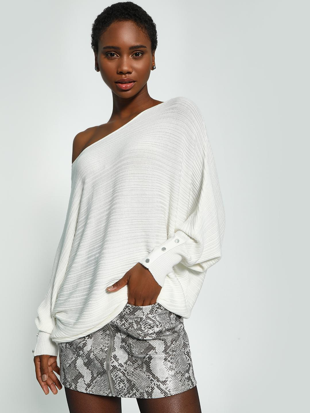 KOOVS White Batwing Sleeve Oversized Ribbed Pullover 1
