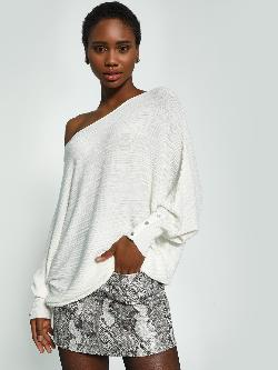 KOOVS Batwing Sleeve Oversized Ribbed Top