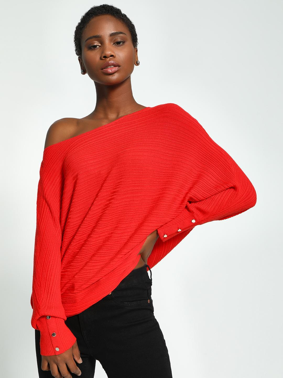 KOOVS Red Batwing Sleeve Oversized Ribbed Pullover 1