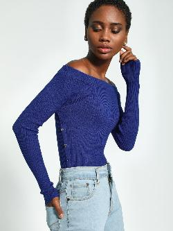 KOOVS Button Detail Ribbed Off-Shoulder Top