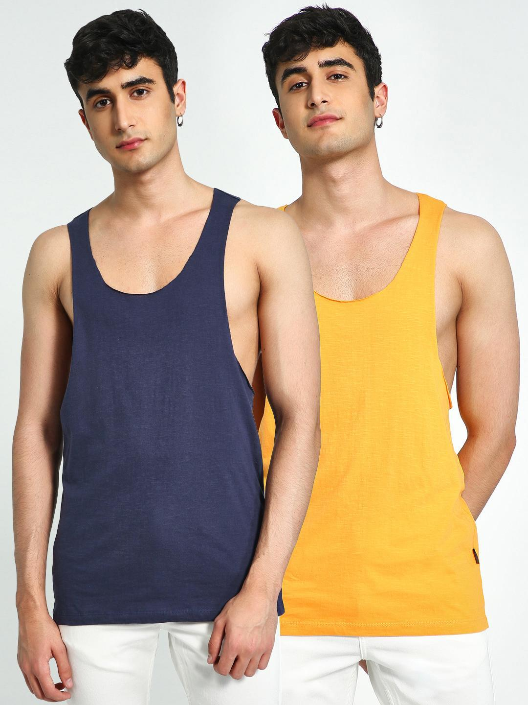 KOOVS Navy/Saffron Raw Edge Racerback Vest (Pack Of 2) 1