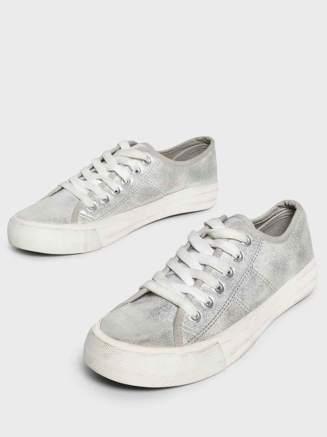 People Silver Metallic Shimmer Canvas Shoes 1