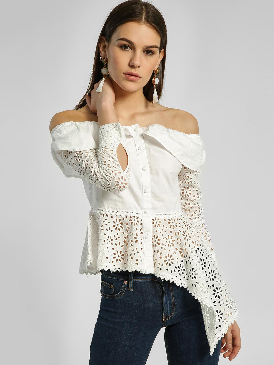 HEY OFFWHITE Broderie High-Low Off-Shoulder Top 1
