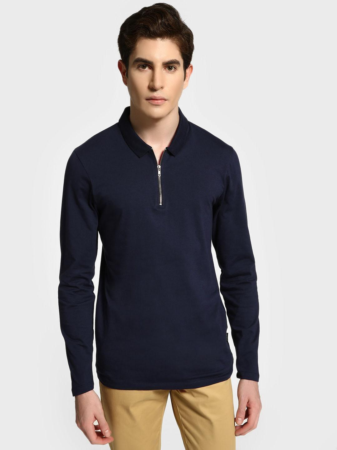 KOOVS Navy Muscle Fit Long Sleeve Polo Shirt 1