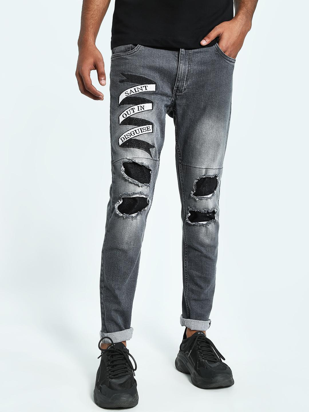 Kultprit Grey Embroidered Slogan Ripped Slim Jeans 1