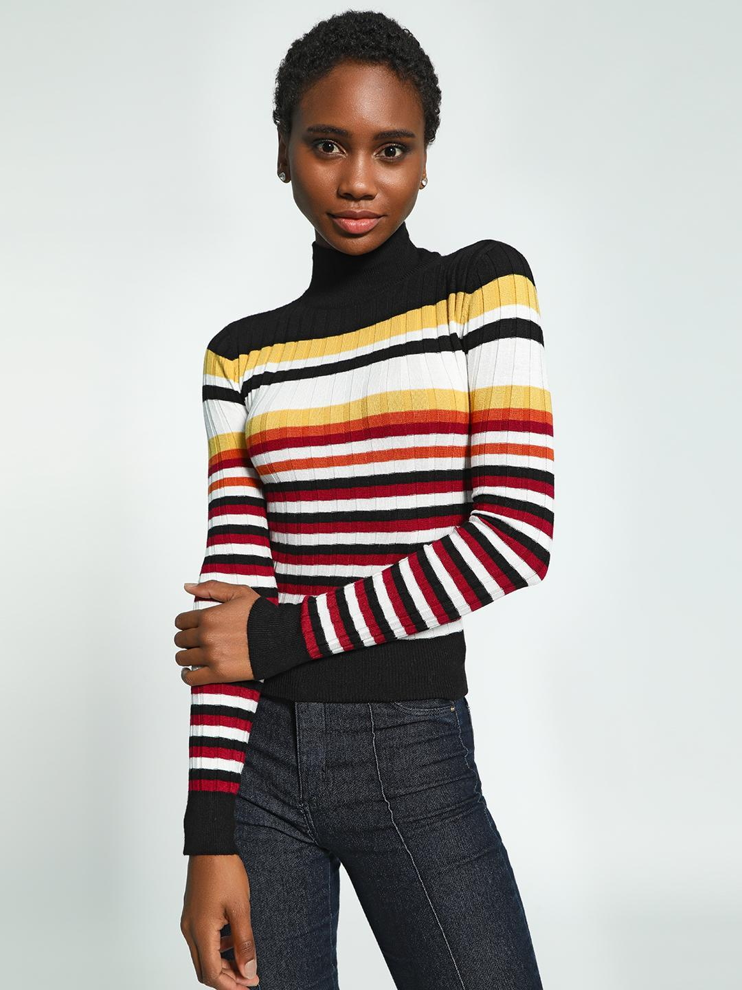 KOOVS Multi Horizontal Multi-Stripe High Neck Pullover 1
