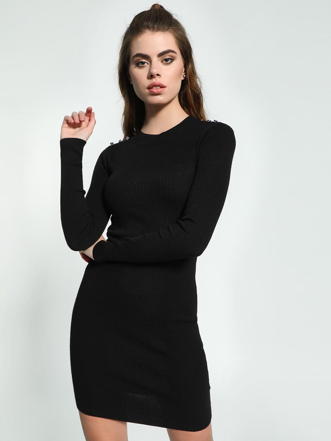 KOOVS Black Shoulder Button Knitted Bodycon Dress 1