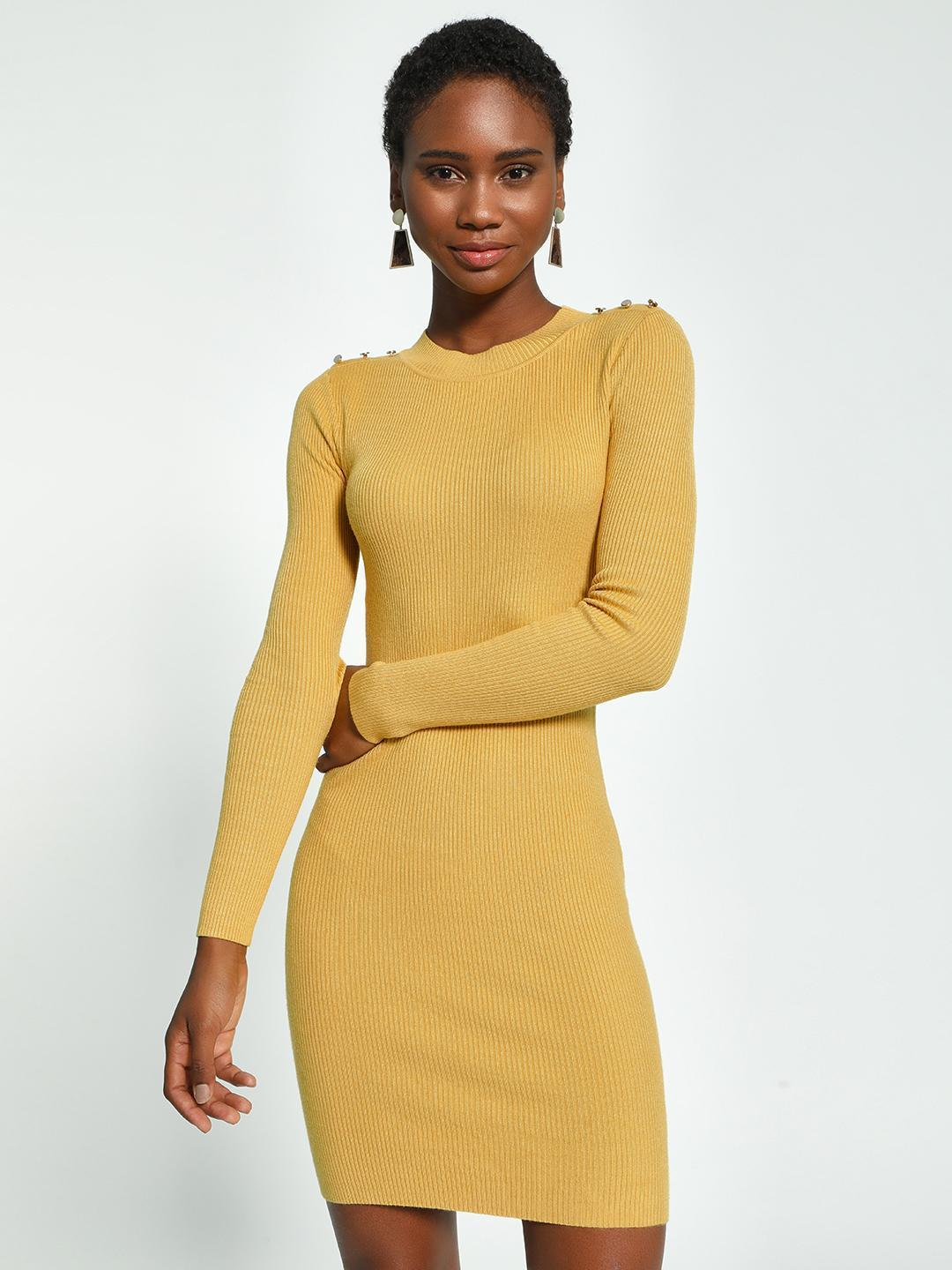 KOOVS Yellow Shoulder Button Knitted Bodycon Dress 1