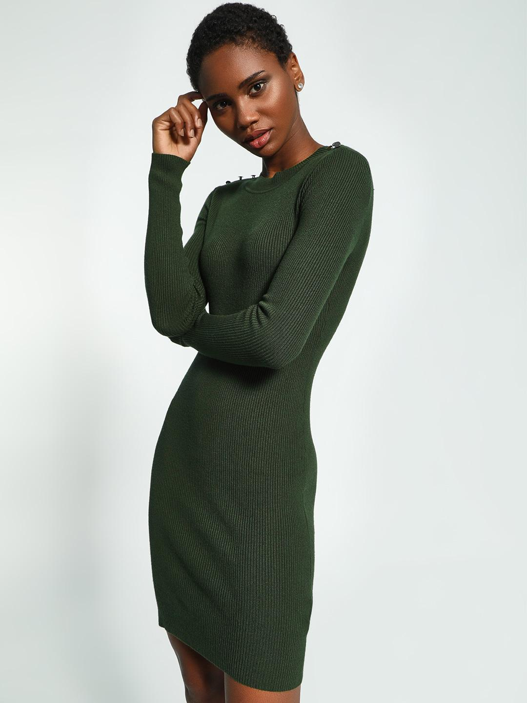 KOOVS Green Shoulder Button Knitted Bodycon Dress 1