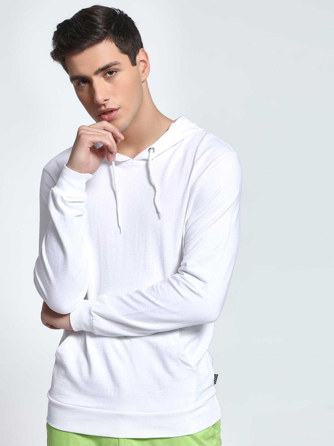 KOOVS White Basic Casual Hooded Sweatshirt 1