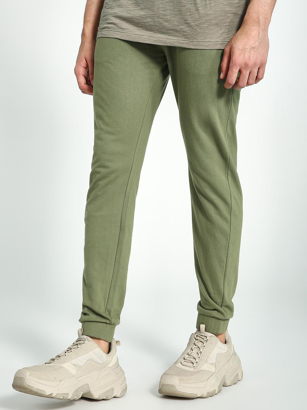 KOOVS Green Basic Slim Fit Joggers 1