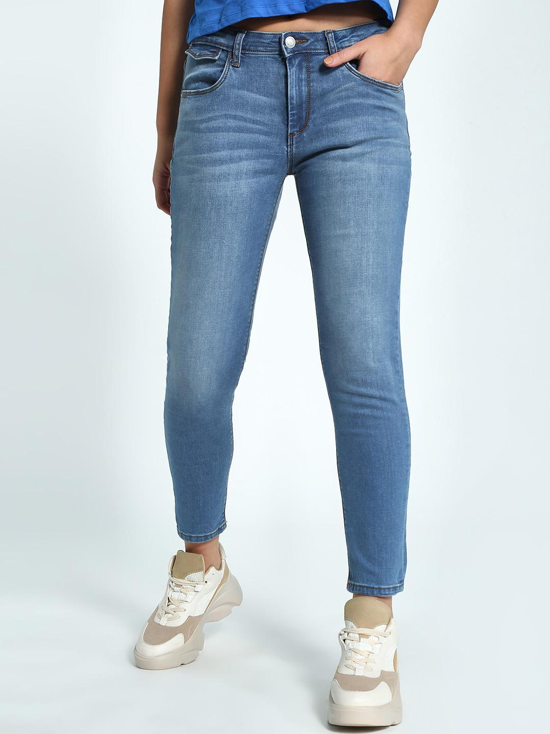 Flying Machine Blue Light Wash Cropped Skinny Jeans 1