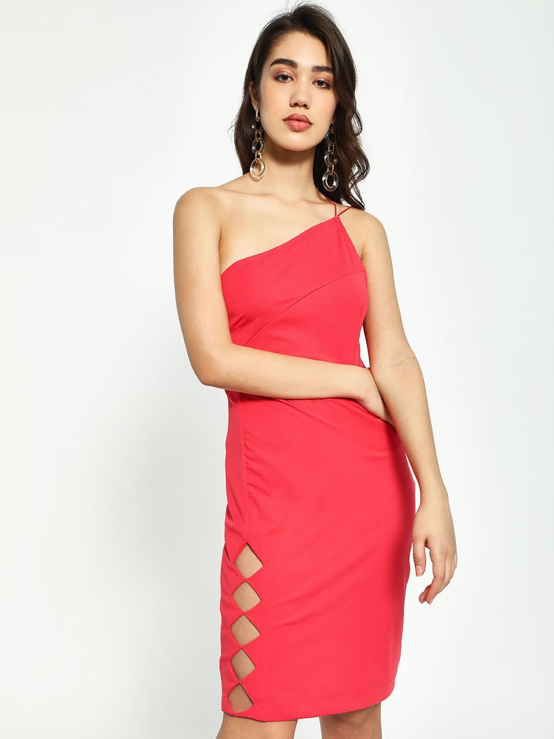 KOOVS Pink One Shoulder Bodycon Dress 1