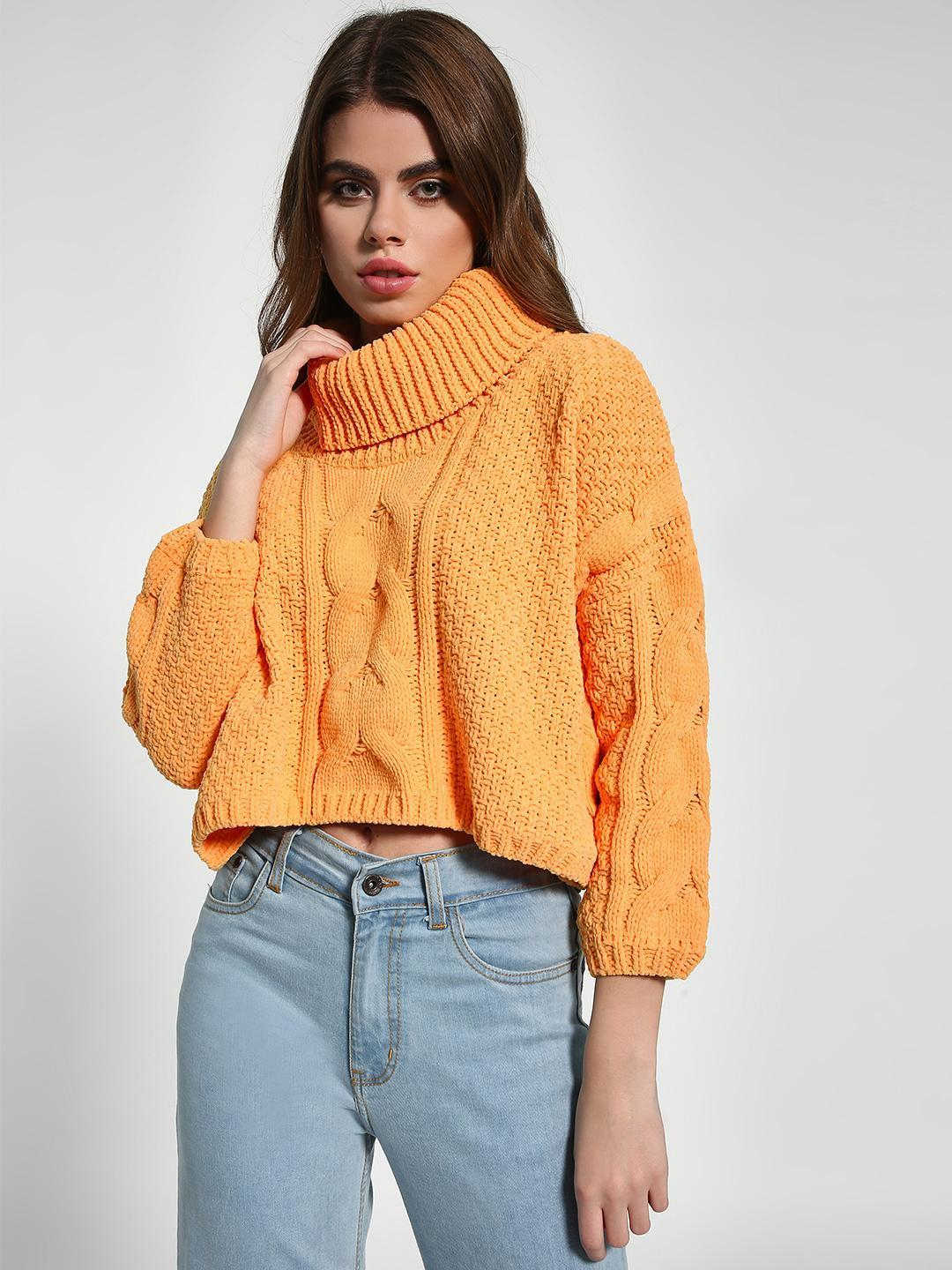 KOOVS Yellow Chenille Cable Knit Crop Jumper 1