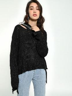 KOOVS Cut-Out Neck Angora Lightweight Pullover