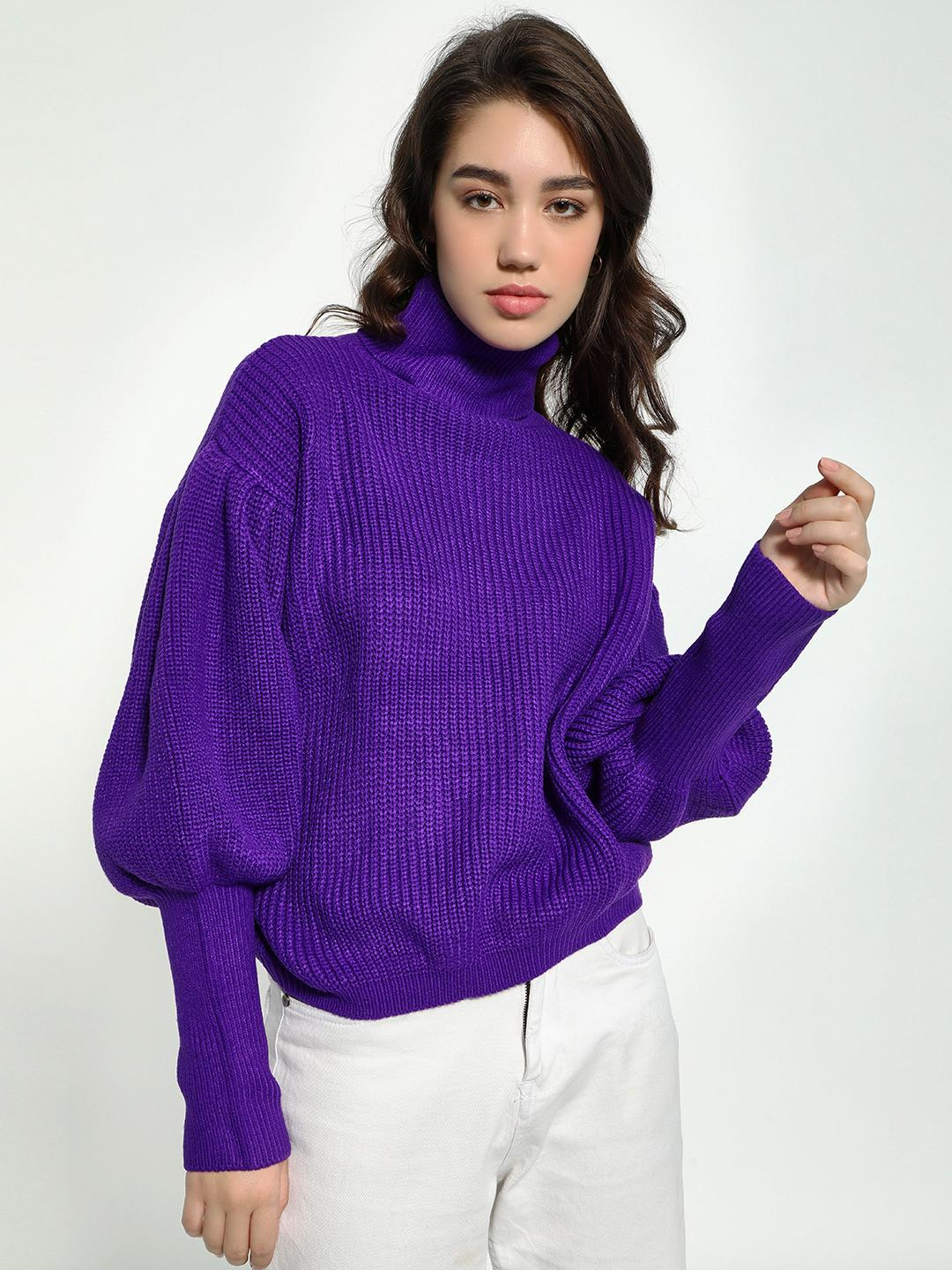 KOOVS Purple Knitted Roll-Neck Mutton Sleeve Pullover 1