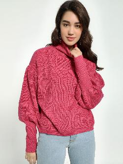 KOOVS Knitted High-Neck Mutton Sleeve Pullover