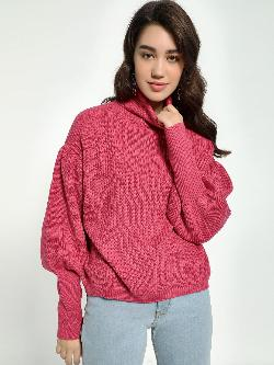 KOOVS Knitted Roll-Neck Mutton Sleeve Pullover