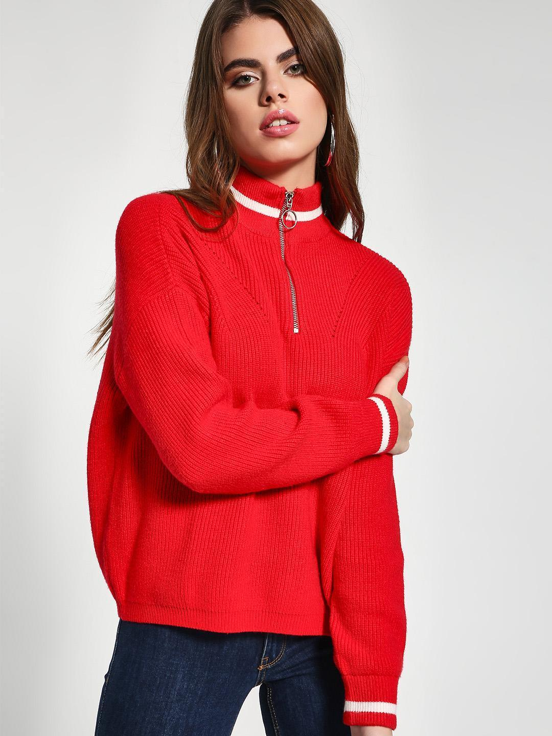 KOOVS Red Zip-Up Knitted Pullover 1