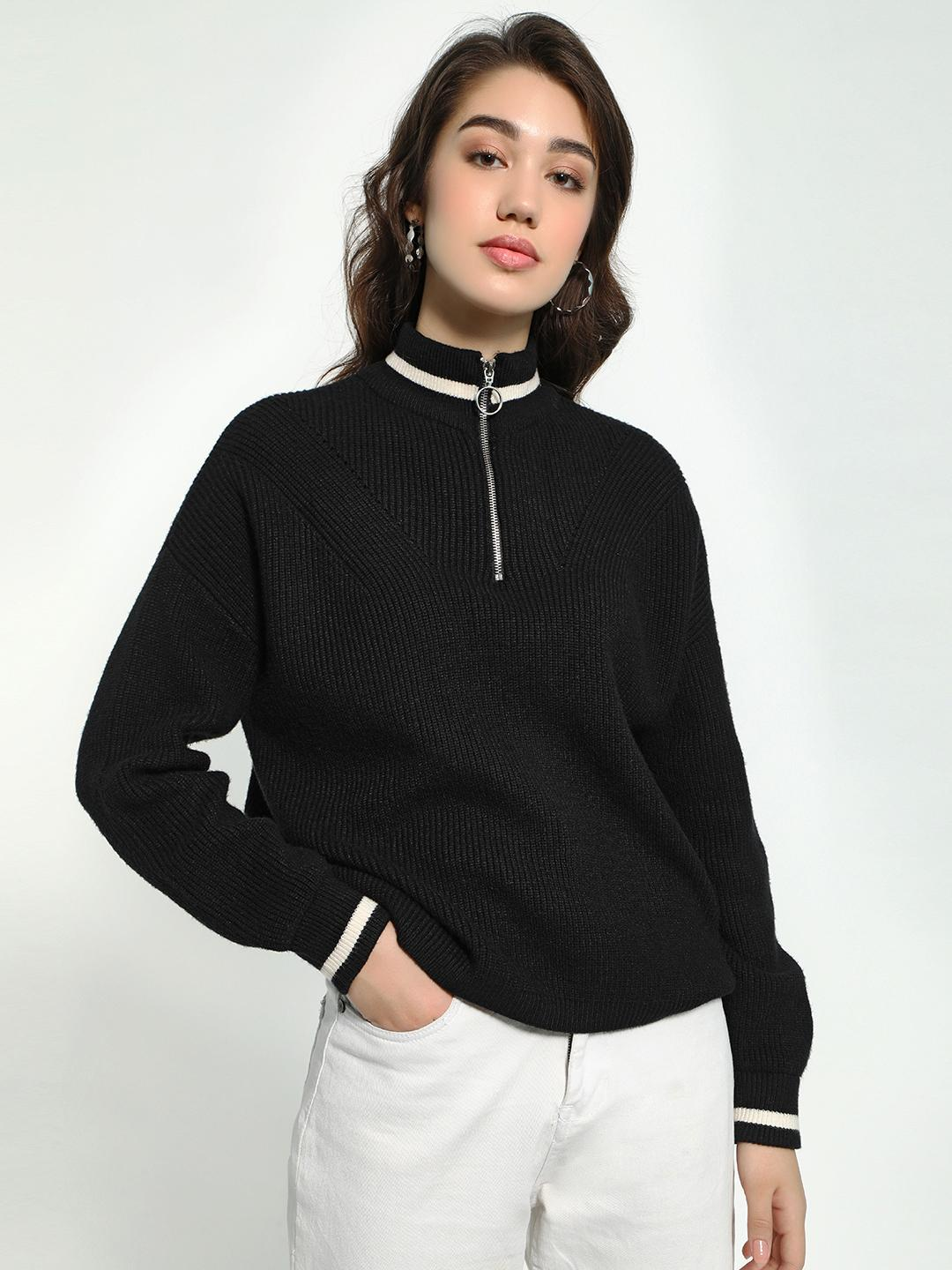 KOOVS Black Knitted Contrast Stripe Zip-Up Pullover 1