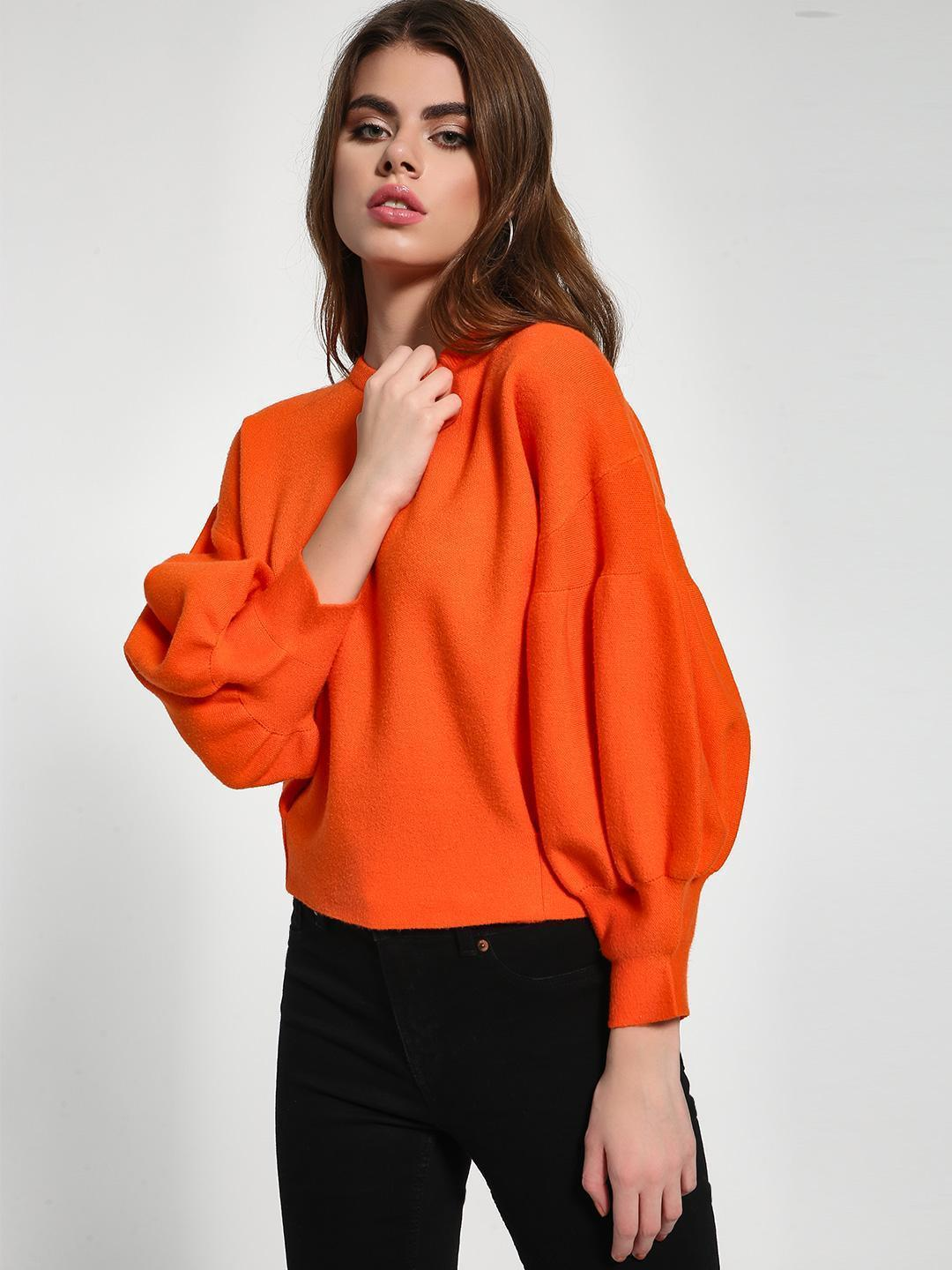 KOOVS Orange Drop Shoulder Balloon Sleeve Pullover 1