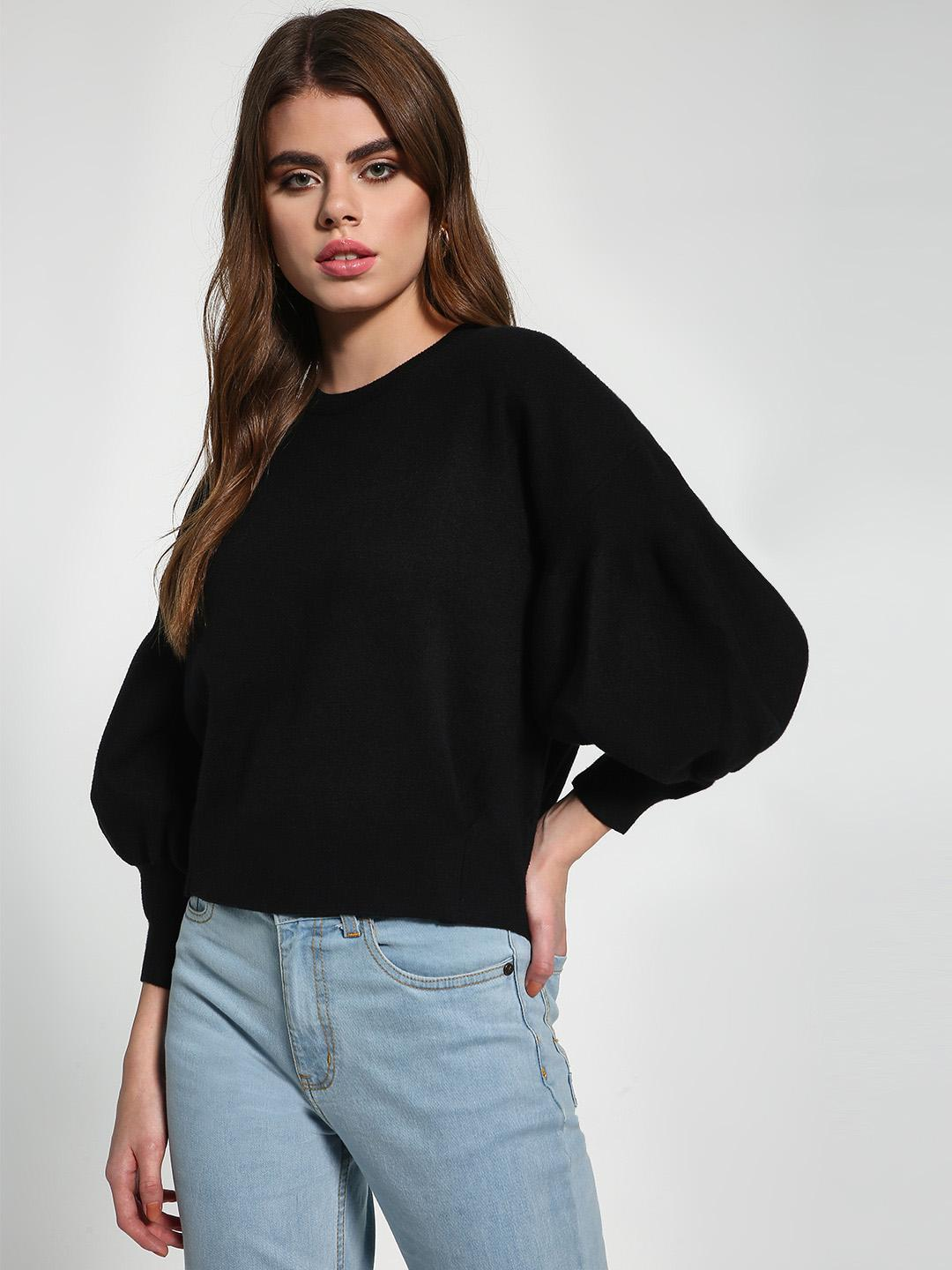 KOOVS Black Drop Shoulder Balloon Sleeve Pullover 1