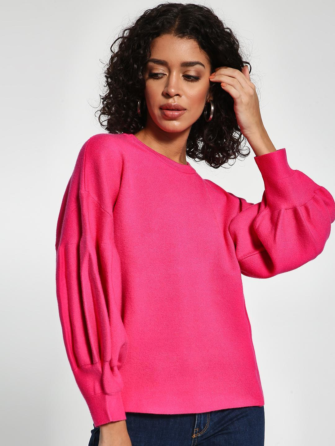 KOOVS Pink Drop Shoulder Balloon Sleeve Pullover 1