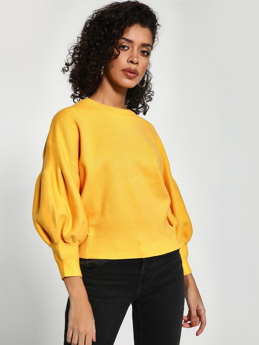KOOVS Yellow Drop Shoulder Balloon Sleeve Pullover 1